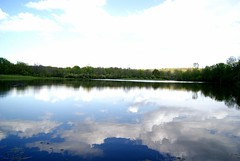Slate Run Pond (LaLa83) Tags: blue trees ohio sky reflection nature water clouds landscape outdoors spring pond sony may marcy hike alpha metroparks 2016 a230 slaterun pickawaycounty ruralohio slaterunmetropark ohiofoothills exploreohio