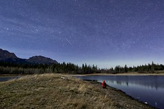 Make a wish (John Andersen (JPAndersen images)) Tags: trees lake mountains night clouds reflections aurora meteor bowvalleypark