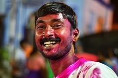 Ram [Stranger # 10 / 100] (s) Tags: portrait india headshot ram holi kolkata bengal calcutta kalighat nikon50mmf18d 100strangers nikond7000 thehumanfamily kalitemplearea