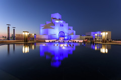 Museum of Islamic Art (MIA) (Ashraf Khunduqji) Tags: camera city longexposure blue sunset color reflection art water museum lens landscape photography nikon purple nikkor islamic doha qatar d810 1424mm