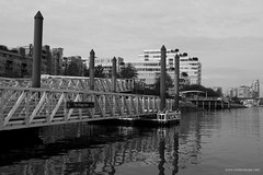 Village Dock in black and white (Zorro1968) Tags: ocean vancouver dock waterfront britishcolumbia shore falsecreek urbanwaterway explorebc explorecanada
