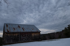 Clouds / temperature inversion. 4.6.16 (koperajoe) Tags: snow weather clouds barn rural newengland inversion westernmass