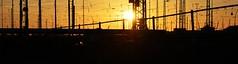 Sonnenuntergang / Sundown (Andreas Meese) Tags: railroad sun wire nikon sonnenuntergang sundown crane tag hamburg tracks railway pylon cranes wires mast hafen bahn sonne kran grasbrook kleiner kabel catenary schienen wilhelmsburg oberleitungen bahnanlage d5100