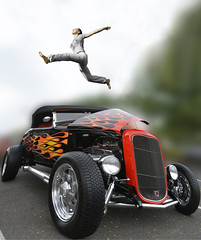 Hot Rod (swong95765) Tags: woman classic ford vintage jump bokeh awesome hotrod leap stunt spectacle