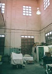 Printing room (us&them.) Tags: windows light art film 35mm space empty room olympus eerie warehouse printing fujifilm sooc