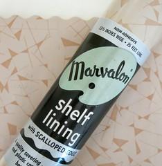 Vintage Marvalon Shelf Lining in Chocolate Chip Design (hmdavid) Tags: shop modern vintage design chocolate shelf thrift edge 1950s chip lining liner midcentury scalloped marvalon