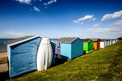 Huts (Tomas Burian) Tags: blue sea england sky water kent seaside colorful colours britain great sunny huts british whitstable