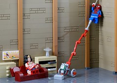 Wonder Woman's solution to pesky insects... (AzureBrick) Tags: woman wonder lego vacuum spiderman knights household appliances nexo