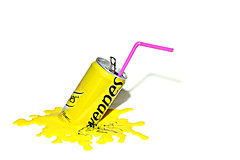 store away from direct heat (brescia, italy) (bloodybee) Tags: pink shadow stilllife white water yellow metal logo fun tin drink humor straw can melt soda brand tonic schweppes 365project