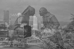 And a City Arose! (creepingvinesimages - struggling to keep up!) Tags: bw monochrome outdoors nikon pittsburgh mtwashington pointofview famouspeople hmm bigcity digitalmanipulation stautues d7000 pse14 topazbw