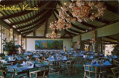 Outrigger Dining Room, Sheraton Kauai, Hawaii (SwellMap) Tags: architecture vintage advertising restaurant design pc cafe 60s fifties postcard suburbia style diner kitsch retro truckstop nostalgia chrome americana 50s roadside cafeteria googie populuxe sixties babyboomer consumer coldwar snackbar eatery midcentury spaceage driveinrestaurant atomicage