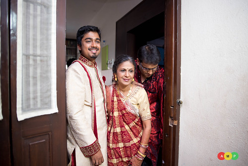 Nirav, the groom with his mother leaving his house