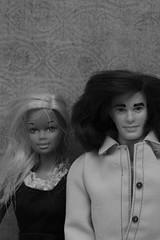 Ken and Barbie (catherine4077) Tags: blackandwhite dolls ken barbie 1975 monochrone