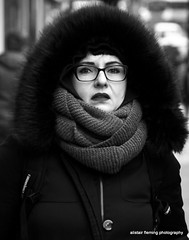 41-IMG_0052 Cold (marinbiker 1961) Tags: bw woman scarf glasgow candid coat glasgow2015