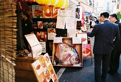 (yangkuo) Tags: crimson japan sushi tokyo display sashimi large natura tsukiji seafood fujifilm expired moonfish shopfront superia200 classica opah outermarket