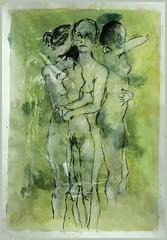 drei mal vor grun (Alemwa) Tags: woman berlin nude sketching bg zeichnung aktzeichnen berlinischegalerie kreizberg 15minuten alemwa vesselaposner