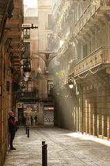 A Man Smoking by the Wall (Shinichiro Hamazaki) Tags: barcelona street spain gothic narrowstreet