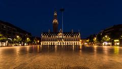 Ladeuzeplein and the University Library (Kimmo J) Tags: city longexposure tower leuven statue night square lights town belgium library empty canonef1740mmf4lusm vlaanderen nightimage ladeuzeplein canon6d
