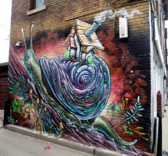 Take Things Slow (Georgie_grrl) Tags: house streetart toronto ontario stars graffiti expression smoke creative snail explore smoky harbordstreet shalak canonpowershotelph330hs mynewdarkpinkside cladestinos bampotteahouse justtakingthingsslow buttruckinalong