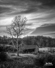 February Sky (Lost in the Hills) Tags: county old winter light portrait bw sun white black cold tree abandoned nature beauty clouds barn woodland landscape outdoors golden nikon skies afternoon exterior natural farm hills clear pasture hour lone late format appalachia hdr crooked vinton lostinthehills romanwilshanetsky