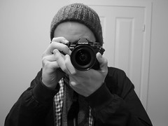 I'm back! (Jamie Goldsworthy) Tags: blackandwhite selfportrait happy back olympus return newcamera omd selfie micro43