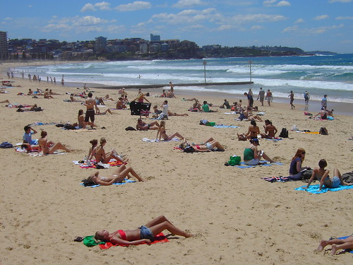 Manly. Sunbakers and swimmers.