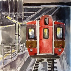 Track 25, Grand Central Station (softfurn Susan) Tags: railroad train watercolor painting sketch drawing grandcentralstation traintrack locationsketch nycurbansketchers