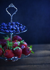 berries (donna leitch) Tags: stilllife food macro texture kitchen fruit berries strawberries tray blueberries tabletop donnaleitch