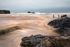 Perranporth at high tide (Shockin Goblin) Tags: uk longexposure morning storm beach coast seaside cornwall waves britain outdoor coastal imogen kernow perranporth
