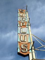 Surplus Sign (altfelix11) Tags: california neonsign pasadena surplus vintagesign arrowsign vintageneonsign coloradoboulevard oldroute66 scaffoldsign