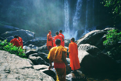 Monks day out (Nora Carol) Tags: trip travel summer vacation mist motion mountains green fall tourism nature wet water beautiful vintage river landscape religious flow happy waterfall rocks cambodia stream alone view natural cloudy outdoor buddha exploring joy scenic buddhism tourist spray retro adventure monks tall flowing splash exploration cascade powerful enjoying steep novice souteastasia phnomkulen siemream