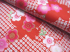 Beautiful Sakura Design in Red -- EK-QS38255C (ikoplus) Tags: red flower beautiful cherry gold design pastel sewing fabric commercial sakura kimono zakka sakuras suppliers ikoplusfabric ekqs38255c
