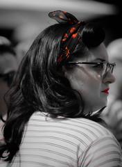 DSC_0805 (La Marquise de Jade) Tags: portrait woman rouge noir femme profile rockabilly blanc couleur sélective