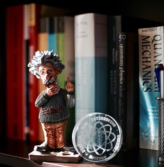 Einstein (gphoton) Tags: office einstein 50mm14 depthoffield shelf canonfd quantumphysics quantummechanics solidstatephysics sonya7 ulmuniversity