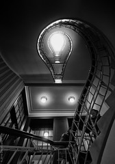 what's up there? (D-j-L) Tags: lighting light blackandwhite bw monochrome stairs canon prague sinister indoor stairway czechrepublic inside cz contrejour s100 hlavnmstopraha