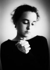 The moment I wake up (spannerino) Tags: light newzealand portrait people blackandwhite white black slr eye film girl monochrome face contrast analog vintage person 50mm aperture dof pentax k1000 head indoor 35mmfilm scanned pentaxk1000 vintagecamera analogue handprocessed ilfordfp4 filmlives canon9000f