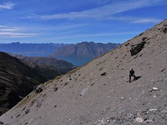 Crossing the scree (flashmick) Tags: autumn mountains scree wakatipu crichton