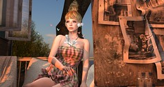 evening twilight and me () Tags: sunset portrait people flower butterfly relax necklace wind secondlife accessories earrings summerdress mischief magnoria on9 haysuriza