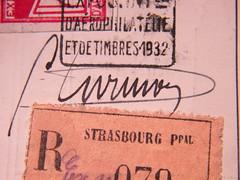 CIDNA pilot Gaston DURMON signed card, verso, detail (afvintage) Tags: 1932 postcard signature strasbourg cathdrale alsace pilot airmail postkarte unterschrift cartepostale briefmarken recommand registred einschreiben timbresposte cidna expositioninternationale durmon arophilatlie