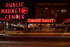 Pike Place Market (Matthew Wengler) Tags: seattle longexposure neon pikeplacemarket neonlight publicmarketcenter