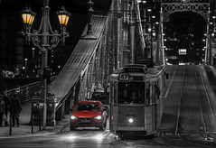 Budapest by night (Vagelis Pikoulas) Tags: city bridge winter light bw cars car canon liberty lights hungary traffic budapest january tram tamron vc 6d 70200mm 2016