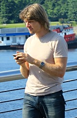 (ManontheStreet2day) Tags: male guy tshirt crotch jeans blond bluejeans stud