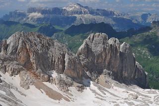 Groupe du Sella (3152 m), Marmolada, Canazei, Val di Fassa, province de Trente, Trentin-Haut Adige, Italie.