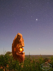 """Bajo El Sol Jaguar"" (Under the Jaguar Sun) (Paula McManus) Tags: longexposure nightphotography sculpture stars outdoor newsouthwales outback brokenhill em5 sculpturesymposium bajoelsoljaguar underthejaguarsun paulamcmanus 20mm17 lumix20mm sculpturessymposium"