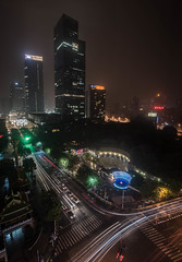 Sleepless in Shanghai (e_impact) Tags: life china city travel trees streets building green cars architecture night shopping temple lights freedom hotel smog haze shanghai amphitheatre pollution greenery consumer global consumption sleepless jingantemple westnanjingroad
