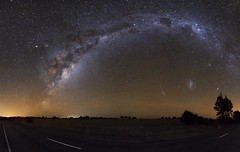 Outskirts (ourkind) Tags: road trees panorama zeiss canon stars landscape nightscape farm australia southerncross astrophotography nsw newsouthwales astronomy saturn smc crux lmc milkyway etacarinanebula largemagellaniccloud