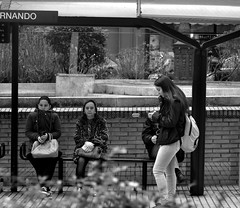 Calle San Fernando, Santander, Spain (Gonzalo Aja) Tags: street city people blackandwhite bw espaa blancoynegro calle spain women san waiting cityscape citylife ciudad personas busstop fernando mujeres santander cantabria streetview d3000