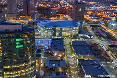 Sprint Center, Kansas City MO (ericbowers) Tags: horizontal sunrise cityscape earlymorning scenic nopeople kansascity missouri highrises cityscene skyscapers sprintcenter locallandmark highangleview midwestusa elevatedview builtstructure
