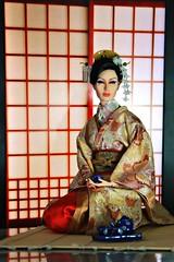Geisha  (Kim ) Tags: japanese miniature doll tea ceremony geiko tatami kimono friday hairstyle comb memoirs kanzashi kushi sybarite   geigi birabira hikido kimlondon kysu