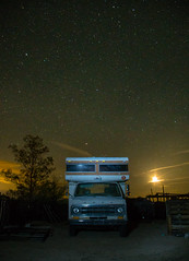 Abandoned Among Stars (Maggie McGunigle) Tags: light sky moon night truck dark stars desert outdoor space pollution serene camper twentyninepalms twentynine nighttwentyninepalms